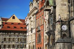 The Prague old City Hall and Astronomical clock Orloj at Old Tow Stock Photos