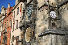 The Prague old City Hall and Astronomical clock Orloj at Old Tow Stock Photography