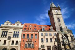 The Prague old City Hall and Astronomical clock Orloj at Old Tow Royalty Free Stock Images