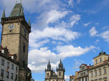 Prague - old city squaire. Astronomical Clock in Prague stock photography