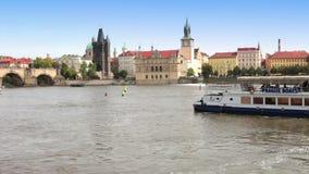Prague - the old city, Vltava Embankment and Charles Bridge, the Czech Republic stock video footage