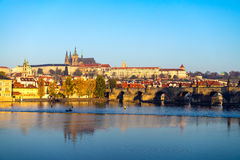 Prague. Old downtown of Prague, Vltava river and Charles bridge. Czech Republic Royalty Free Stock Photos