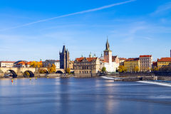 Prague. Old downtown of Prague, Vltava river and Charles bridge. Czech Republic Royalty Free Stock Images