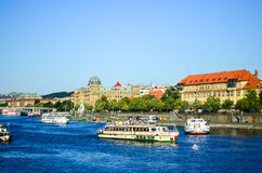 Prague. Old historical building  near Poltava river in a sunny day in Prague Royalty Free Stock Photography