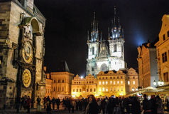 Prague Old Square by Night Royalty Free Stock Photo