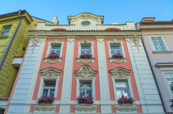 Prague old street. Prague old street view. Windows and facades view Stock Images