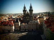 Prague Old Time Square, city center, czech republic. View from Old Time Hall Tower at Tyn Church. Historical center. stock image