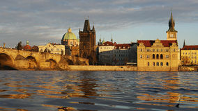 Prague. Old Prague towers in golden light Stock Images