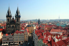 Prague Old Town. Overview of the Old Town square in Prague with the view of the Tyn church Stock Photos