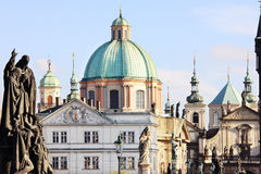 Prague Old Town from Charles Bridge with its Statues Stock Photography