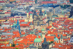 Prague and Old Town Church, Czech Republic Stock Images
