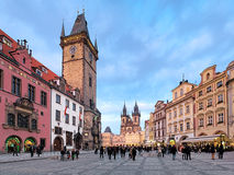 Prague, Old Town City Hall and Church of Our Lady before Tyn Stock Photos