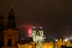 Prague old town with fireworks in the night Royalty Free Stock Images