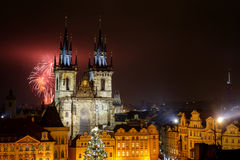 Prague old town with fireworks in the night Stock Images