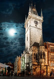 Prague, Old Town Hall at night Stock Images