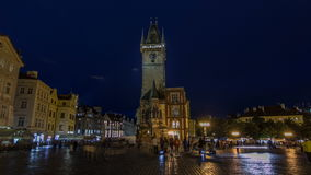Prague Old Town Hall at Night timelapse hyperlapse with unrecognizable tourists walking stock video