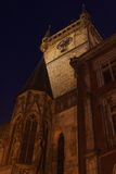 Prague Old Town Hall at Night Royalty Free Stock Photos