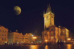 Prague Old Town Hall at Night Royalty Free Stock Images