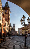 Prague, Old Town Hall  Town Square and Church of our Lady Tyn  in the morning. Royalty Free Stock Photo
