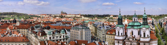 Prague Old Town panoramic photo Royalty Free Stock Image