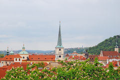 Prague. Old town. Petrin hill. St. Thomas Church. Church of Our Lady Victorious, view from terraced gardens Royalty Free Stock Photography