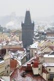 Prague old town Powder Tower. Aerial view Stock Photos