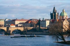 Prague Old town, river Vltava and memorable historical buildings. Prague Old town, view on river Vltava, St.Francis church,Bridge tower, Charles bridge and old Royalty Free Stock Image