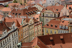 Prague Old Town roofs. A view of the Praghe red roof from the Town Hall tower royalty free stock photography