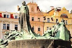 Prague Old Town Square. Prague center with a sculpture in the foreground Royalty Free Stock Images