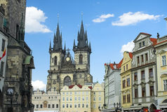 Prague old town square. With Church or Our Lady before Tyn Stock Photos
