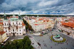 Prague old town square seen from the clock tower. Prague old town square and church seen from the clock tower Royalty Free Stock Photo