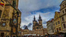 Prague Old Town Square Czech Republic And Astronomical Clock Tower At Christmas Time Royalty Free Stock Photography