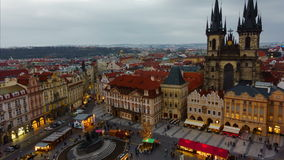 Prague Old Town Square Dusk to Night Timelapse. Wide angle timelapse of the Old Town Square (Staromestske namesti) in Prague featuring a traditional market and stock video