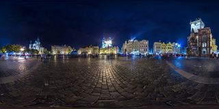 Prague - 2018: Old Town Square at evening. Autumn. 3D spherical panorama with 360 viewing angle. Ready for virtual reality. Full e. Quirectangular projection stock photos
