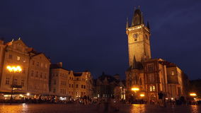 Prague Old Town Square at Night stock video footage