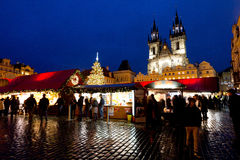 Prague, Old Town Square during night few days after new year Royalty Free Stock Photos