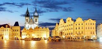 Prague Old town square at night - panorama Royalty Free Stock Image
