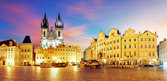 Prague Old town square at night - panorama Royalty Free Stock Images
