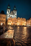 Prague, Old Town Square at night, toned image Stock Photo