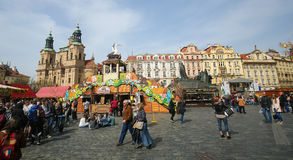 Prague Old Town Square - St Nicholas Church Royalty Free Stock Image