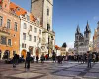 Prague, Old Town Square. Prague - Street Photography, The Old Town Square. The Old Town Hall with Astronomical Clock and Tyn Cathedral Royalty Free Stock Photos