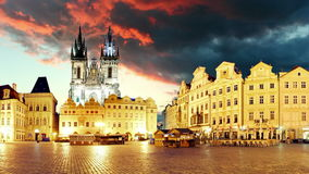 Prague Old town square, time lapse stock video footage