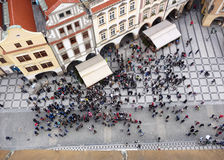Prague old town Square and tourists Stock Photography