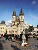 Prague, Old Town Square, Tyn Church Stock Photos