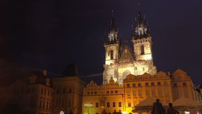 Prague Old Town Square and Tyn Church at Night. PRAGUE, CZECH REPUBLIC - MAY 23, 2015: Night Scene at Prague Old Town Square and Church of Our Lady BEfore Tyn stock video