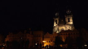 Prague Old Town Square and Tyn Church at Night. PRAGUE, CZECH REPUBLIC - MAY 23, 2015: Night Scene at Prague Old Town Square and Church of Our Lady Before Tyn stock footage