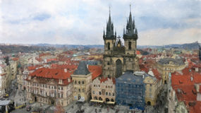 Prague Old Town Square and Tyn Church Stock Photos