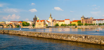 Prague Old Town towers with Charles Bridge over Vltava river Royalty Free Stock Photography