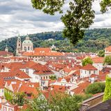Prague old town view with red tiled roofs Royalty Free Stock Photo