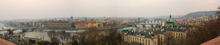 Prague Old Town, Vltava and bridges panoranic view Royalty Free Stock Photos